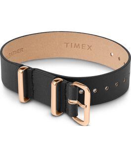 Cinturino a scorrimento in pelle strato singolo da 16mm tonalità oro rosa Nero large