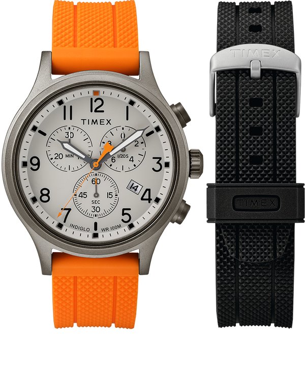 Set da regalo Allied Chronograph 42 mm e cinturino extra Gray/Orange large