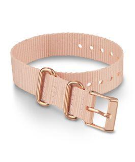 Cinturino slip-thru in tessuto da 16 mm con fibbia tonalità oro rosa Rosa large