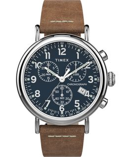 Standard Chronograph 40 mm con cinturino in pelle Silver-Tone/Tan/Blue large