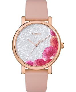 Orologio Full Bloom 38 mm con cristalli Swarovski e cinturino in pelle Oro rosa/Rosa/Bianco large