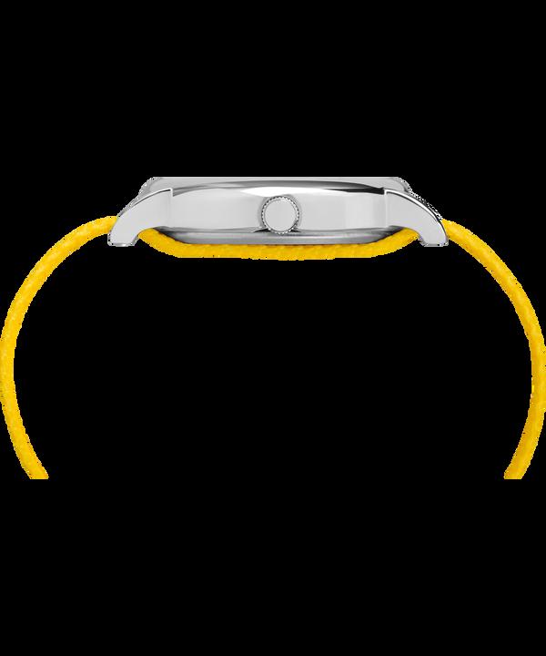 Timex x Peanuts - Orologio Charlie Brown da 38mm con cinturino in tessuto Silver-Tone/Yellow/White large