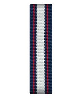 Cinturino a scorrimento in nylon blu, bianco e rosso  large