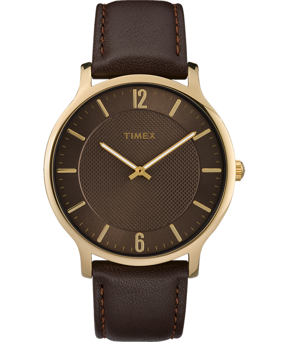 Metropolitan Mens 40mm Leather Watch Gold-Tone/Brown large