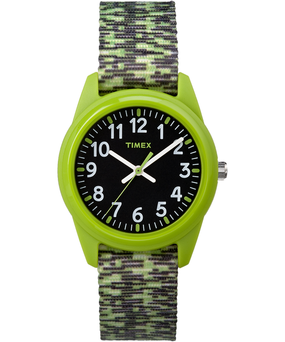 Kids Analog 32mm Digipattern Nylon Strap Watch Green/Black large