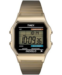 Classic Digital 34mm Stainless Steel Watch Gold-Tone large