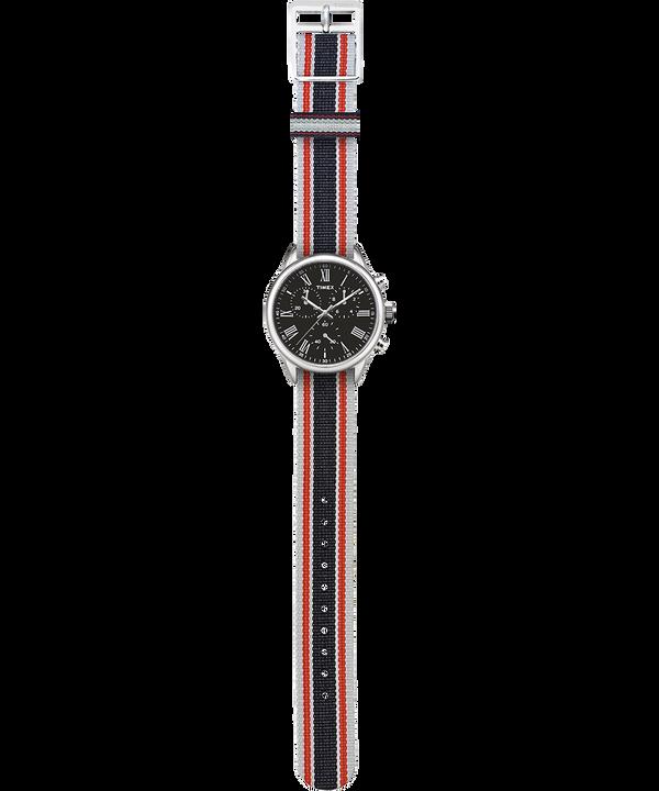 Orologio con cinturino in gros-grain Weston Avenue 38mm Acciaio inossidabile/Nero large