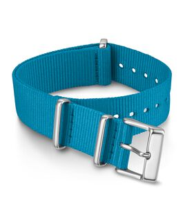 Cinturino slip-thru in tessuto tinta unita doppio strato da 18 mm Blu large
