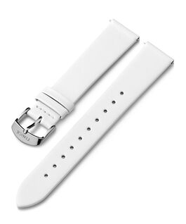 Cinturino in pelle da 18 mm con fibbia silver Bianco large