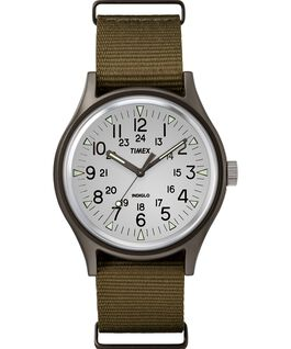 MK1 Aluminum 40mm Nylon Strap Watch White/Brown large