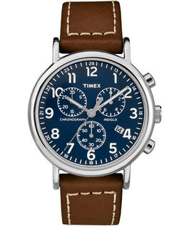 Weekender Chrono 2 Piece 40mm Leather Watch Silver-Tone/Brown/Blue large