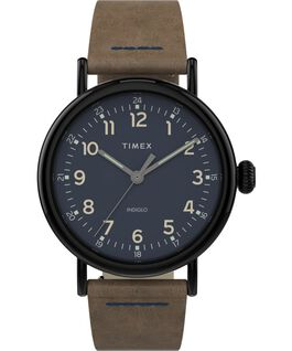 Standard 40 mm con cinturino in pelle Gunmetal/Brown large