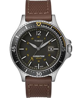 Expedition Ranger Solar 43 mm con cinturino in pelle Silver/Marrone/Grigio/Verde large